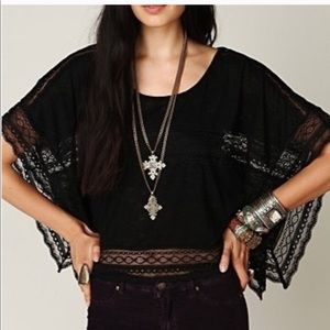 Free People Black Lace Cropped Poncho
